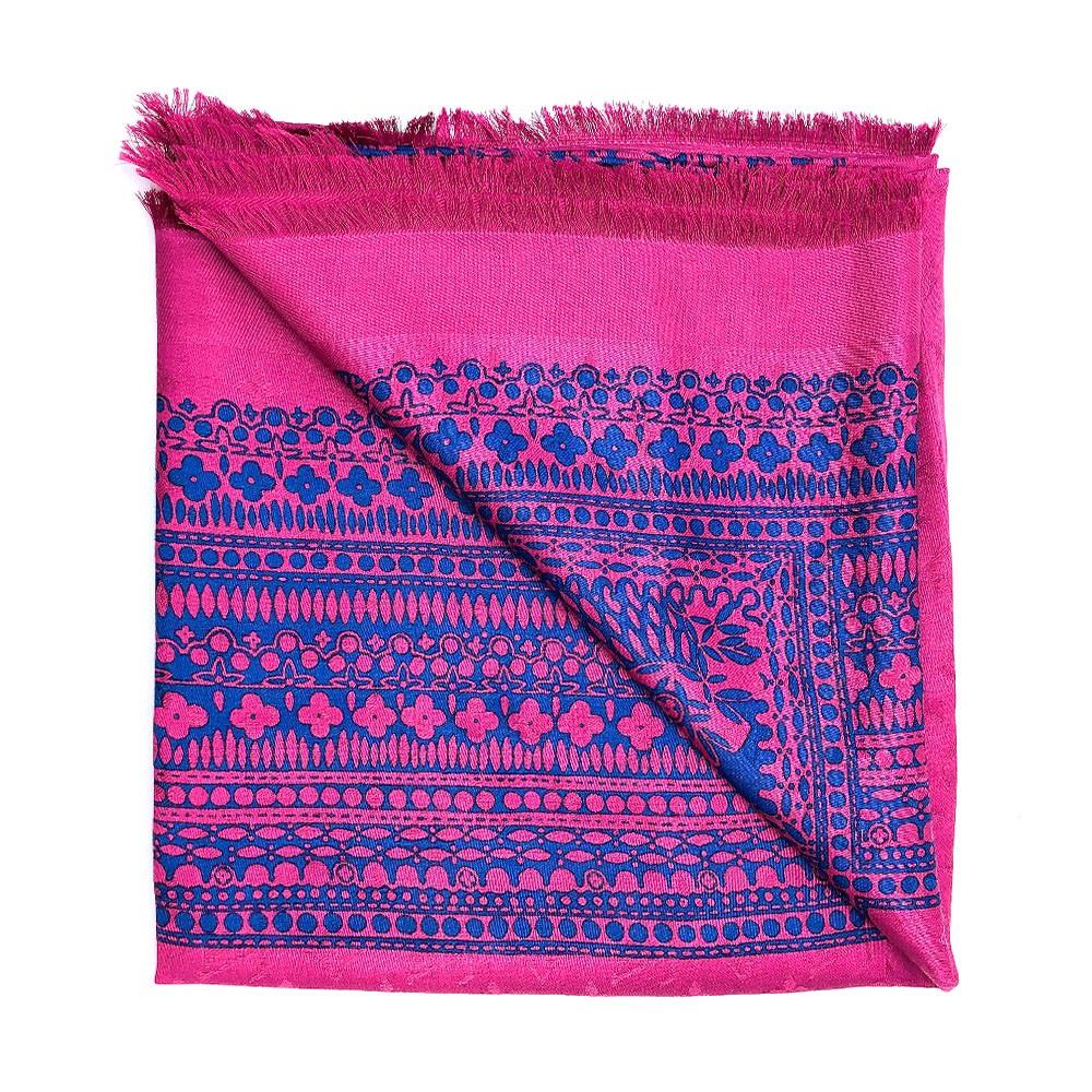 Louis Vuitton 花卉圖騰撞色羊毛圍巾/披肩(M78691-桃紅)