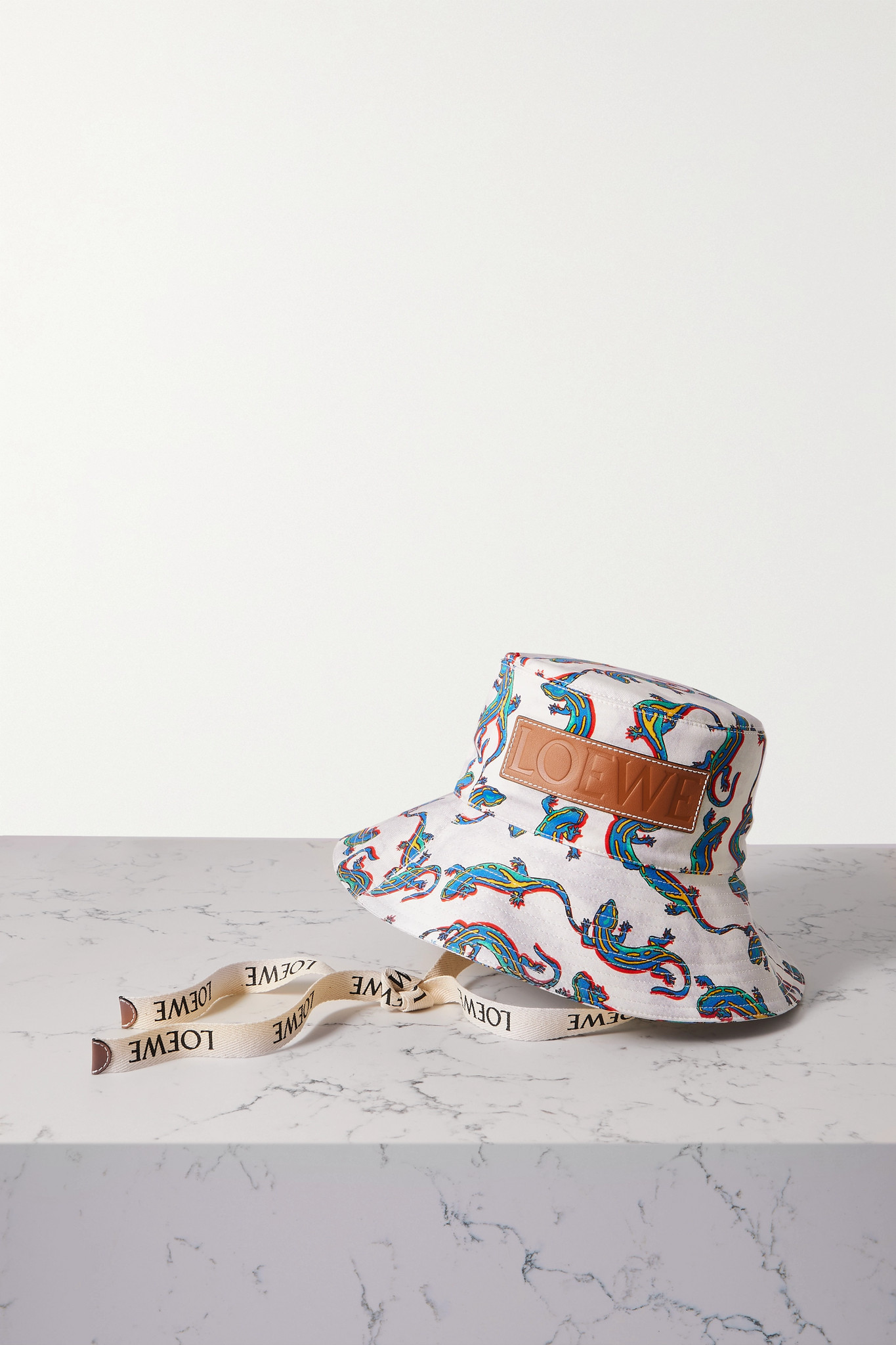 LOEWE - + Paula's Ibiza Leather-trimmed Printed Cotton-twill Bucket Hat - Off-white - S