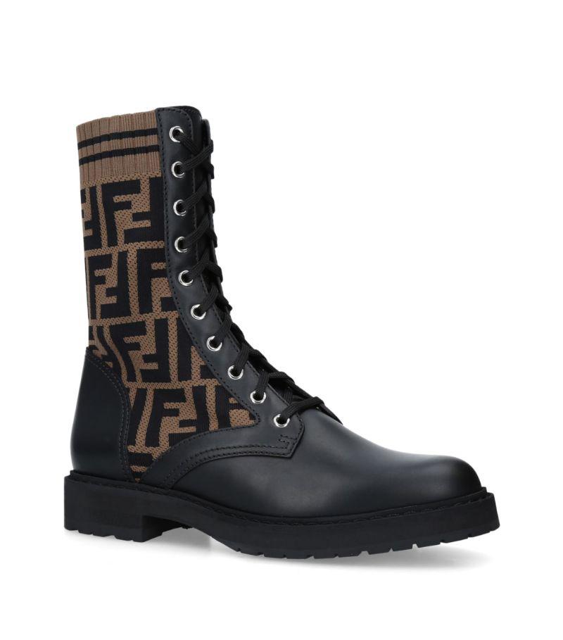Fendi Leather Logo Biker Boots