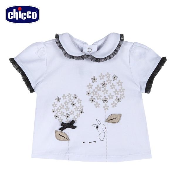 chicco-皇家時尚-印圖立體繡有領短袖上衣