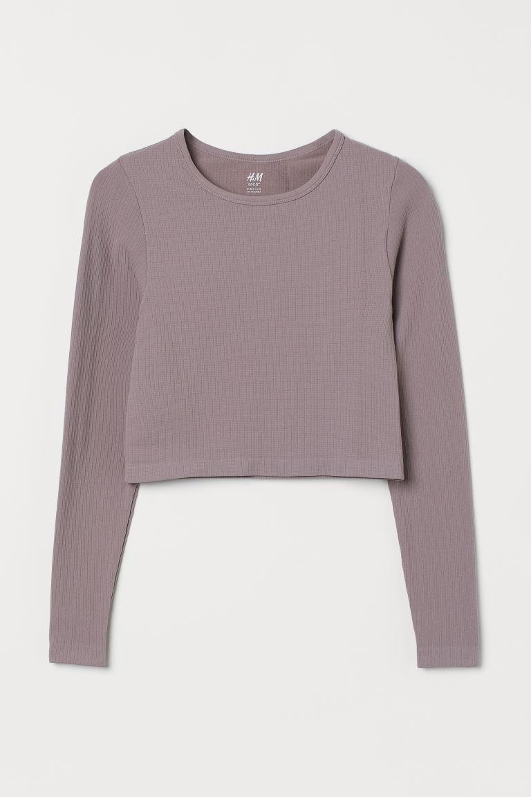 H & M - 短版無痕運動上衣 - 紫色