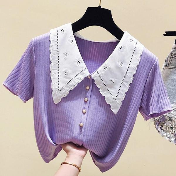 娃娃領上衣 大碼夏裝新款女胖妹妹mm短袖t恤小個子設計感小眾ins潮上衣