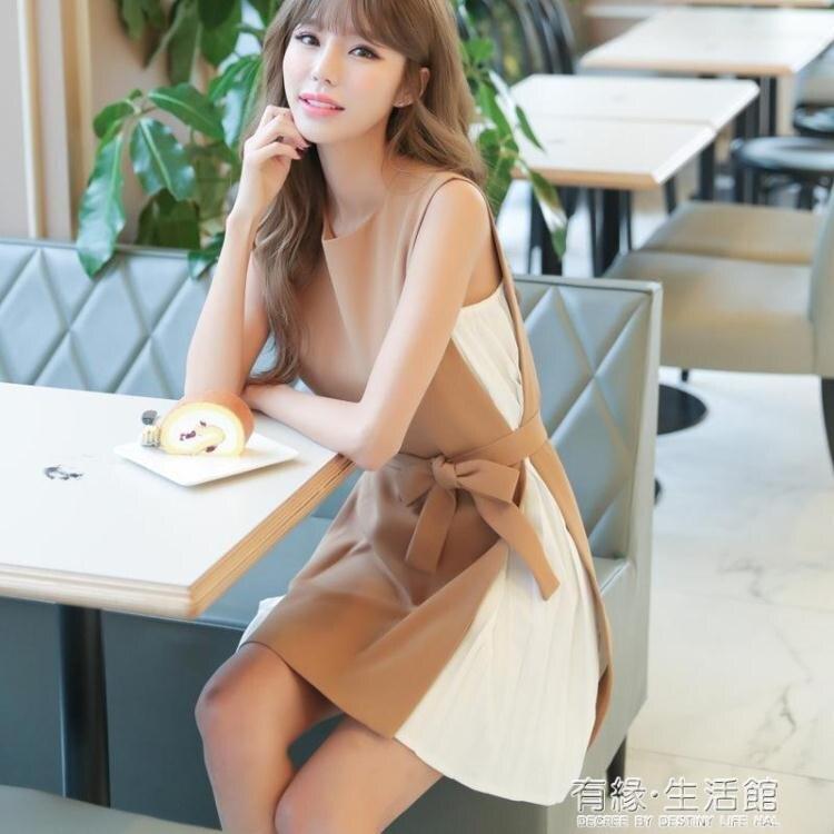 夏季新款法式溫柔風寬鬆顯瘦氣質裙子百褶雪紡拼接無袖洋裝