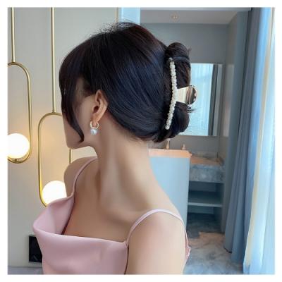 梨花HaNA 手殘黨也好用美麗珍珠金屬.性感女人後腦盤髮抓夾髮夾