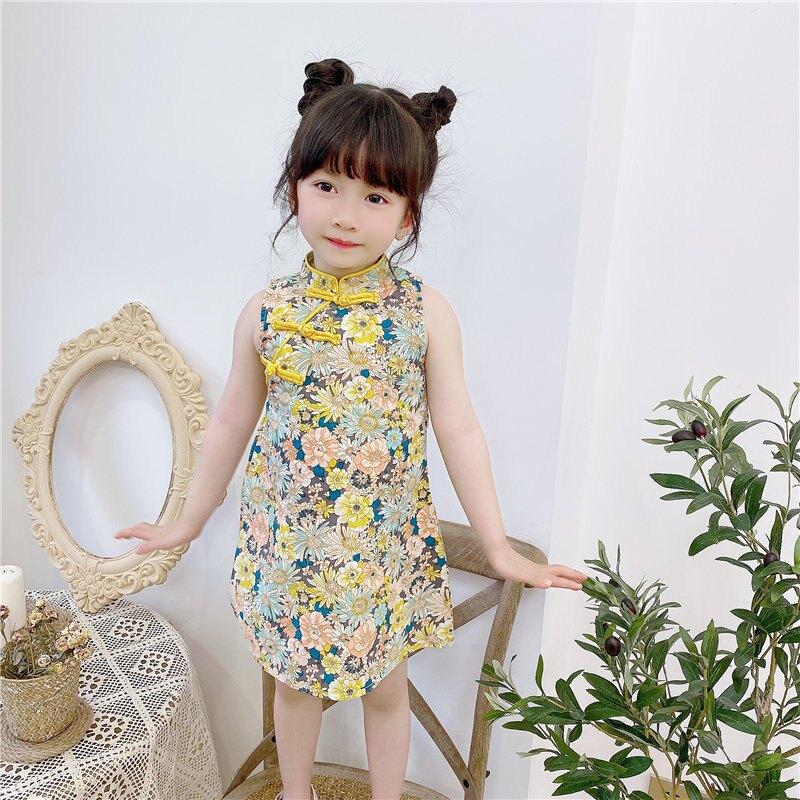 女童旗袍裙2021夏季新款女寶寶連衣裙兒童時尚復古中國風裙子外貿