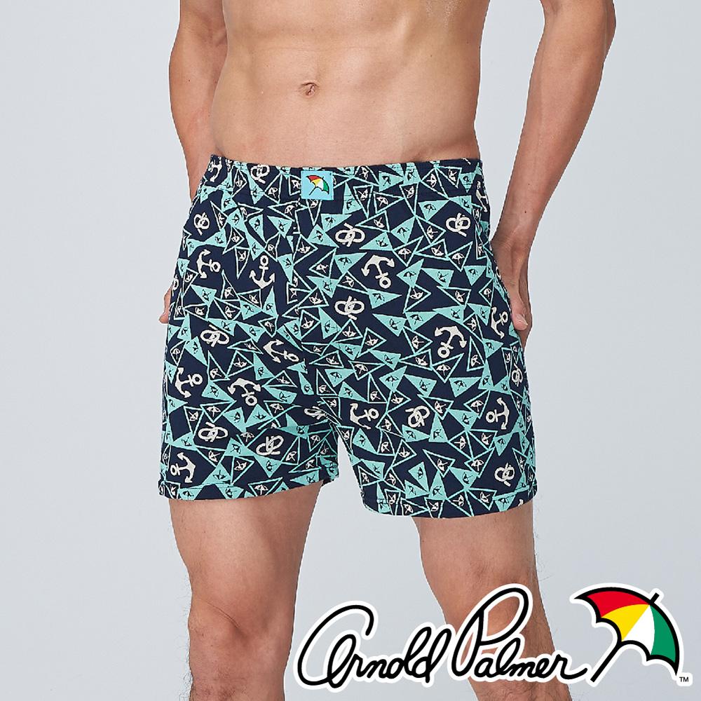 【Arnold Palmer】船錨運動針織開門襟平口褲-丈青