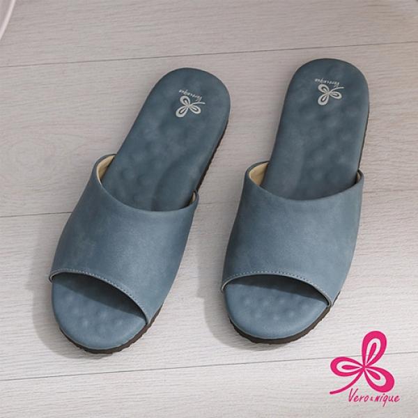 維諾妮卡 優質乳膠室內皮拖鞋06014-深藍/灰(L~XL)【愛買】