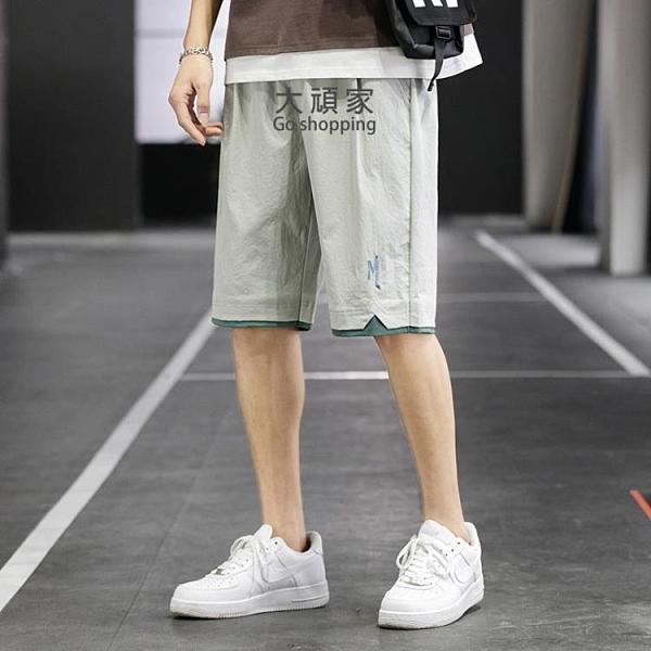 休閒褲 運動褲(男)短褲男士夏季寬鬆休閒運動五分中褲ins潮流外穿沙灘七分褲子