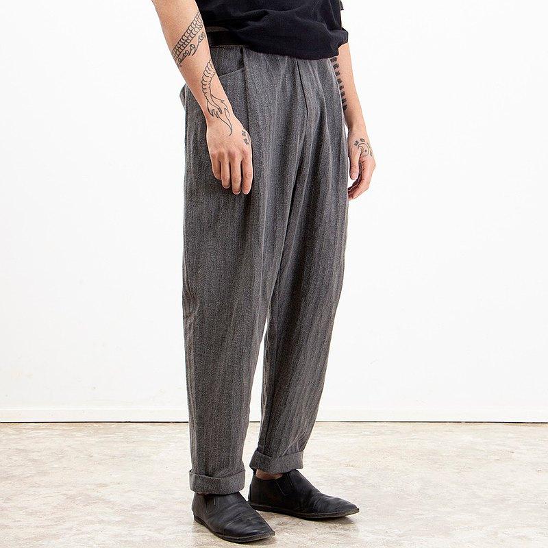 復古翻邊日系寬鬆樹裂紋亞麻錐型工裝感鬆緊腰休閒長褲
