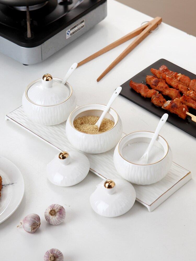 onlycook 白色陶瓷調味罐組合裝 廚房調料盒套裝家用調料罐調味瓶