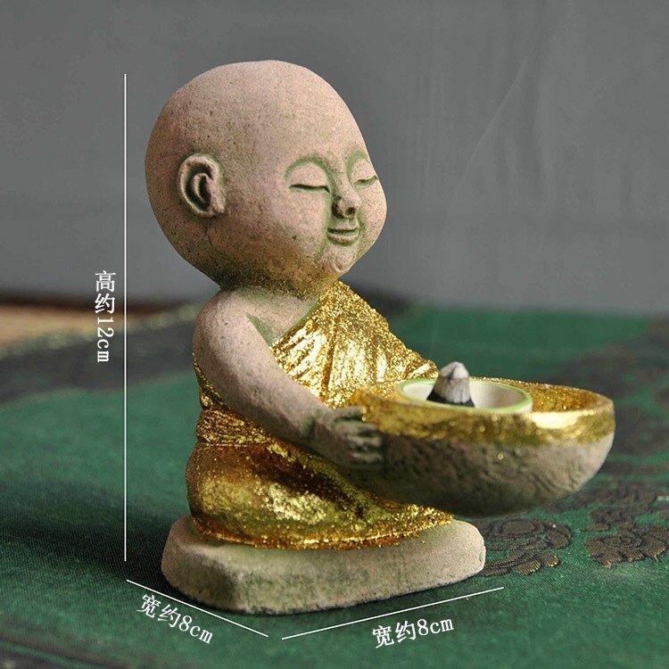 禪意小和尚泰國進口茶寵裝飾品燭臺石雕佛像泰式餐廳桌面小擺件