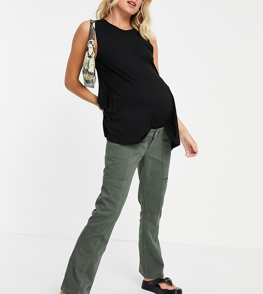 ASOS DESIGN Maternity low rise utility flare in khaki with over the bump band-Green