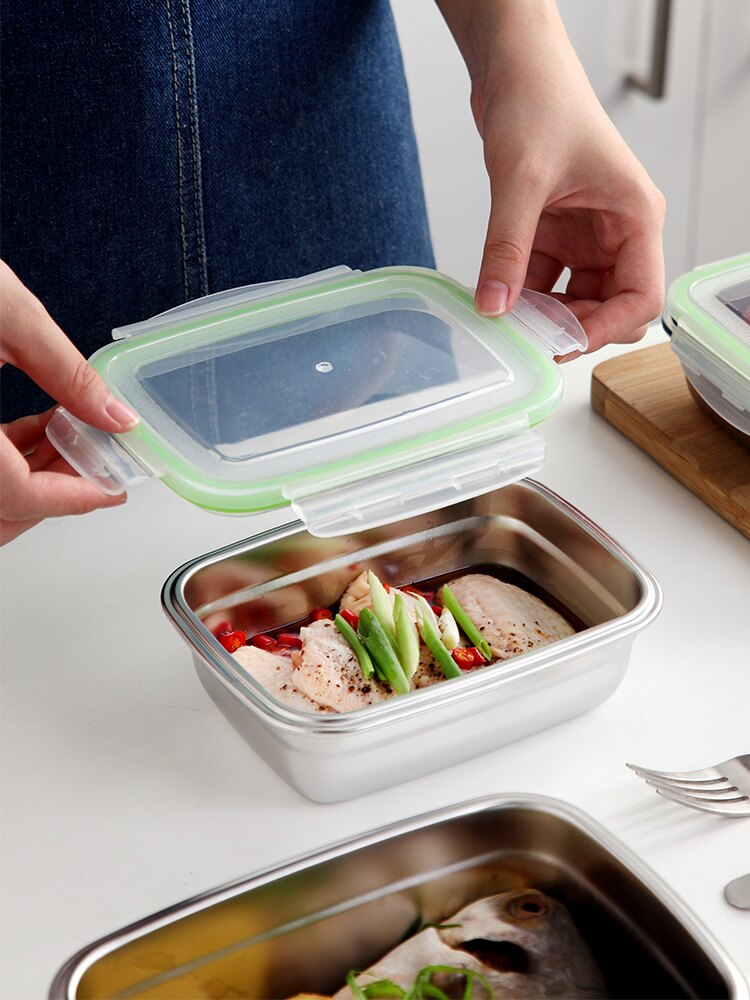 家用保鮮盒304不銹鋼餐盒長方形收納盒密封帶蓋飯盒上班族便當盒