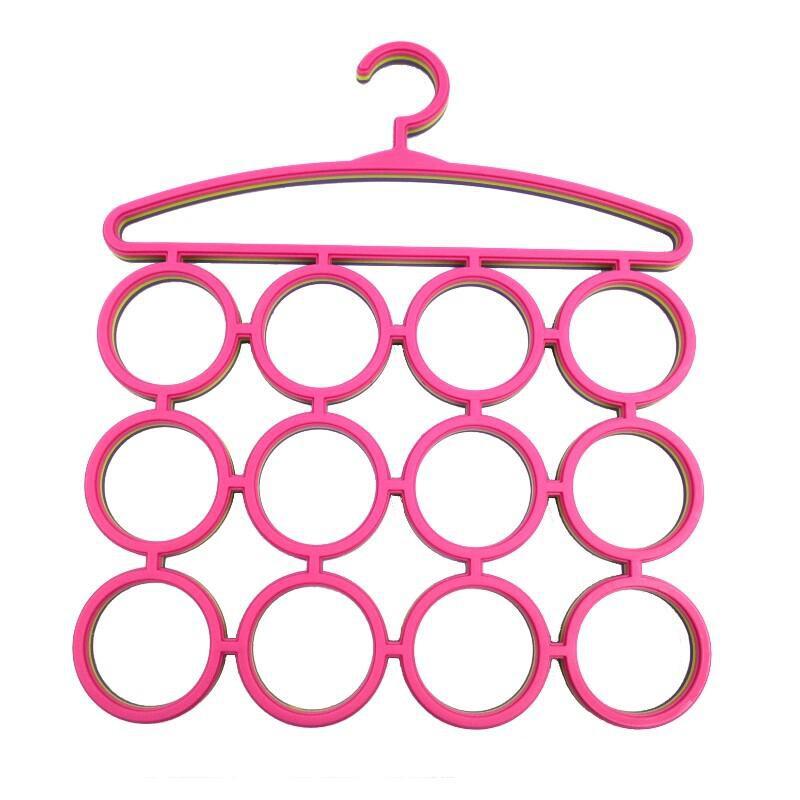 12格環形圓圈領帶架 絲巾架 圍巾架 皮帶收納衣架F689環型衣架(3入)台灣製【DO318】