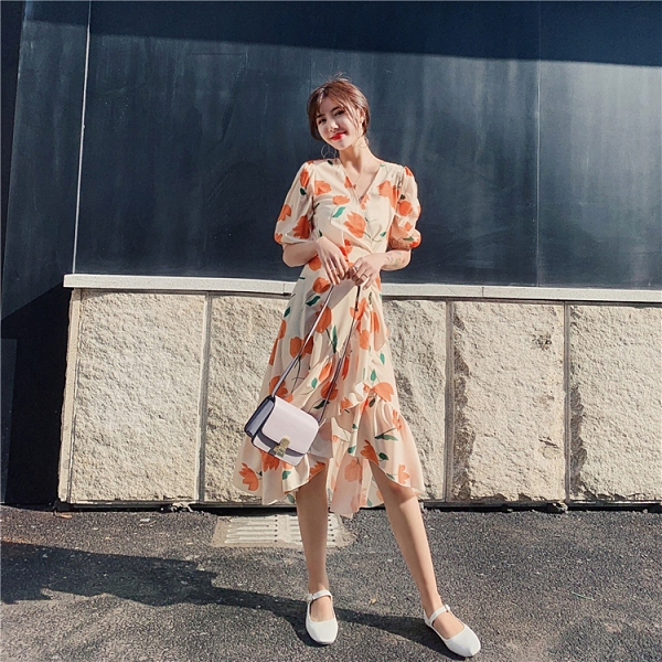 洋裝 韓系度假風雪紡碎花一片式中長款連身裙 花漾小姐【預購】