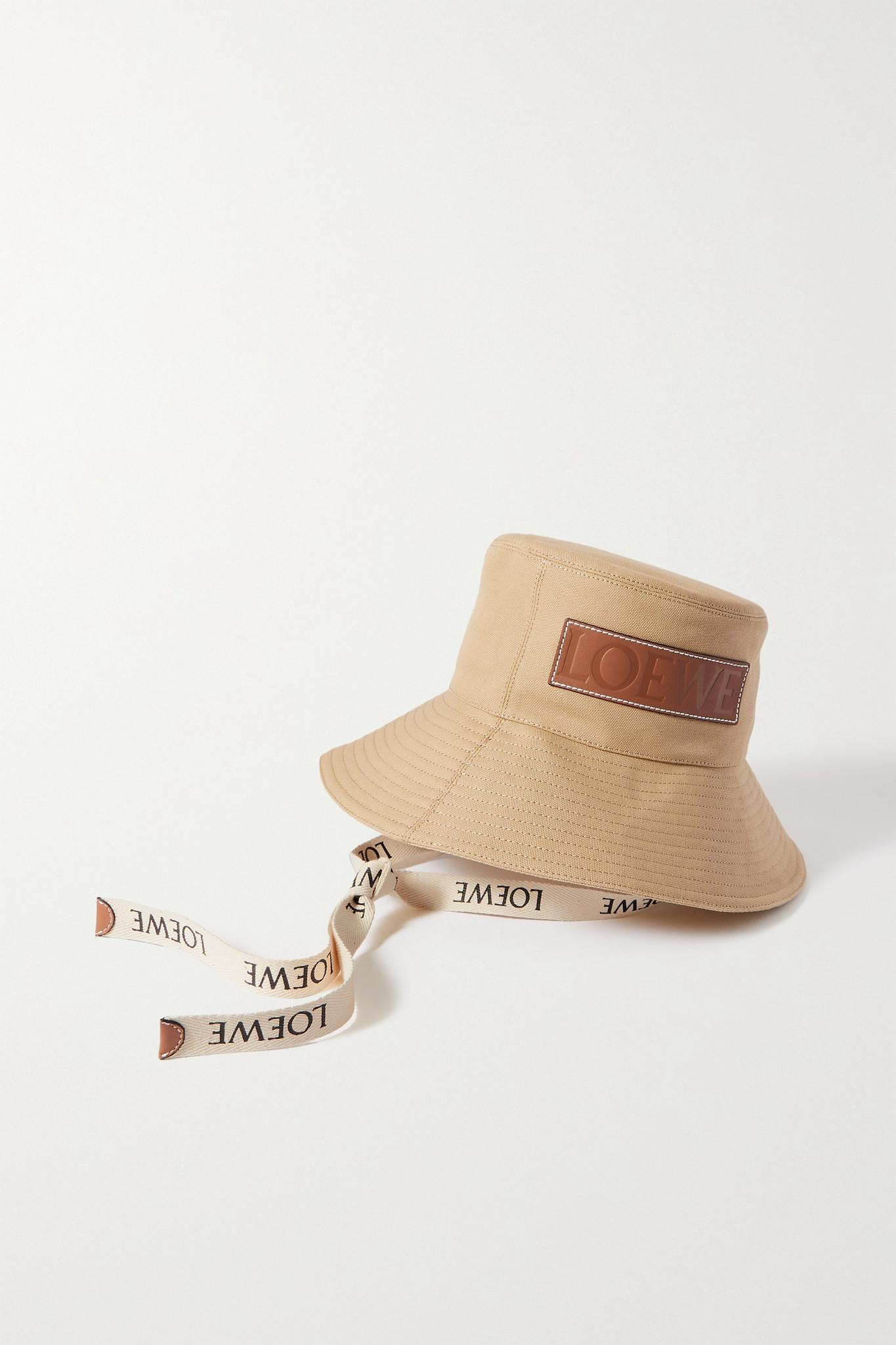 LOEWE - + Paula's Ibiza Leather-trimmed Cotton-canvas Bucket Hat - Neutrals - L