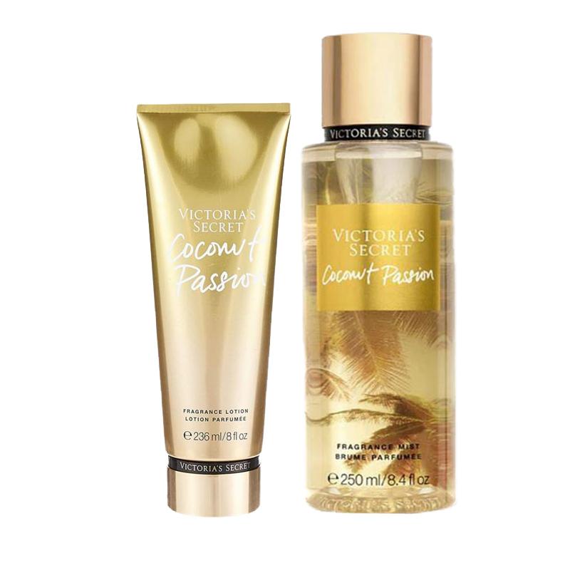 Victoria's Secret維多利亞的秘密-熱情椰香身體乳液236ml+身體噴霧250ml