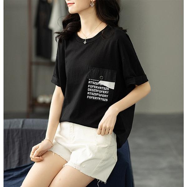 寬松顯瘦口袋字母圓領T恤背后拼接短袖上衣女NB11依佳衣