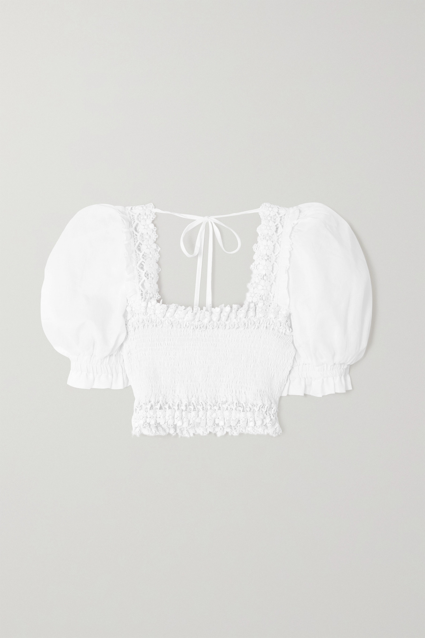 CHARO RUIZ - Judy Cropped Crochet-trimmed Shirred Cotton-blend Voile Top - White - large