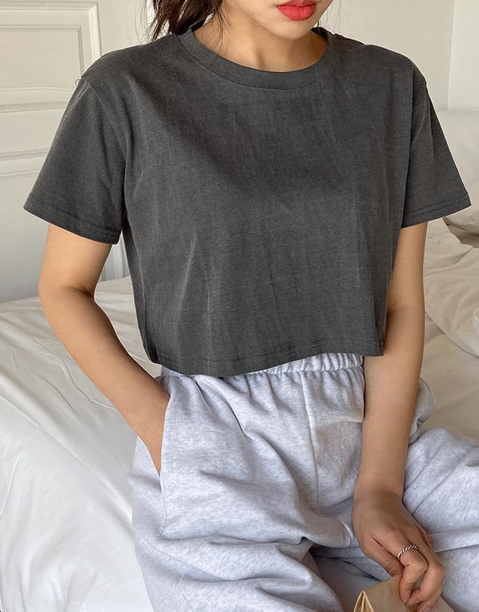 韓國空運 - Pigment Crop T-shirt 短袖上衣
