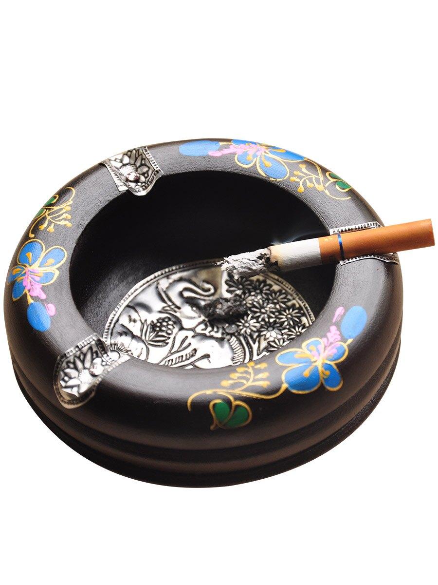 異麗泰國實木煙灰缸個性創意復古懷舊木質煙缸辦公室茶幾裝飾擺件