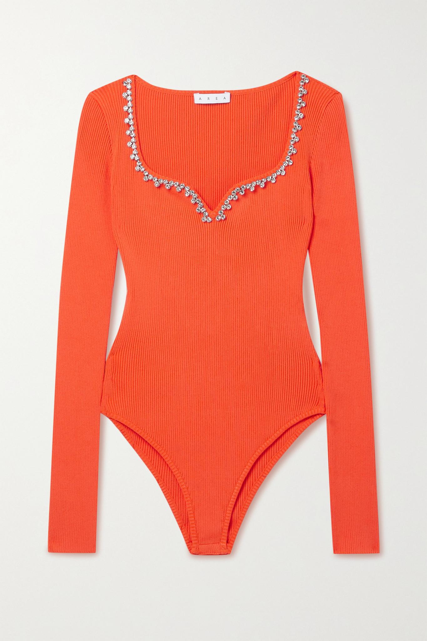 AREA - Crystal-embellished Ribbed Stretch-knit Bodysuit - Orange - x small