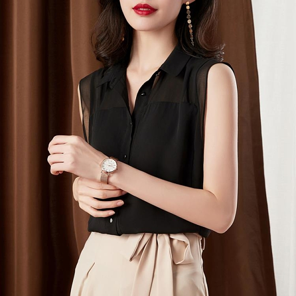 無袖襯衫女顯瘦黑色雪紡上衣時尚氣質職業襯衣【時尚大衣櫥】
