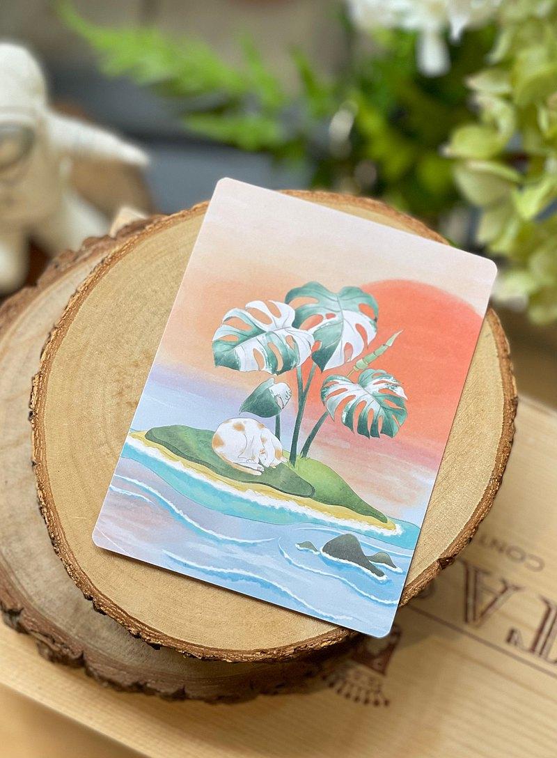 小花貓的白斑龜背芋小島 明信片