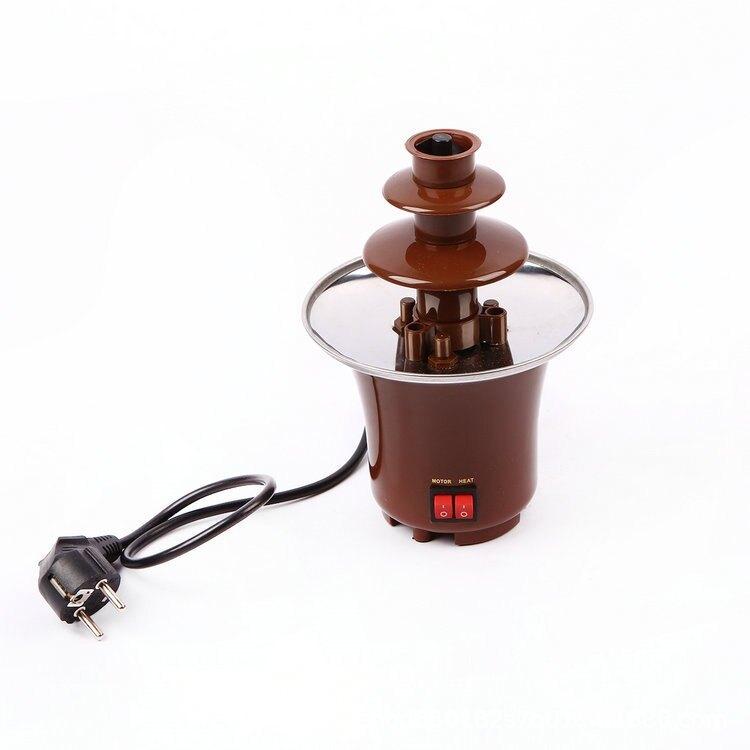 現貨-迷你DIY三層巧克力噴泉機家用融化塔帶加熱小巧克力機瀑布機批發