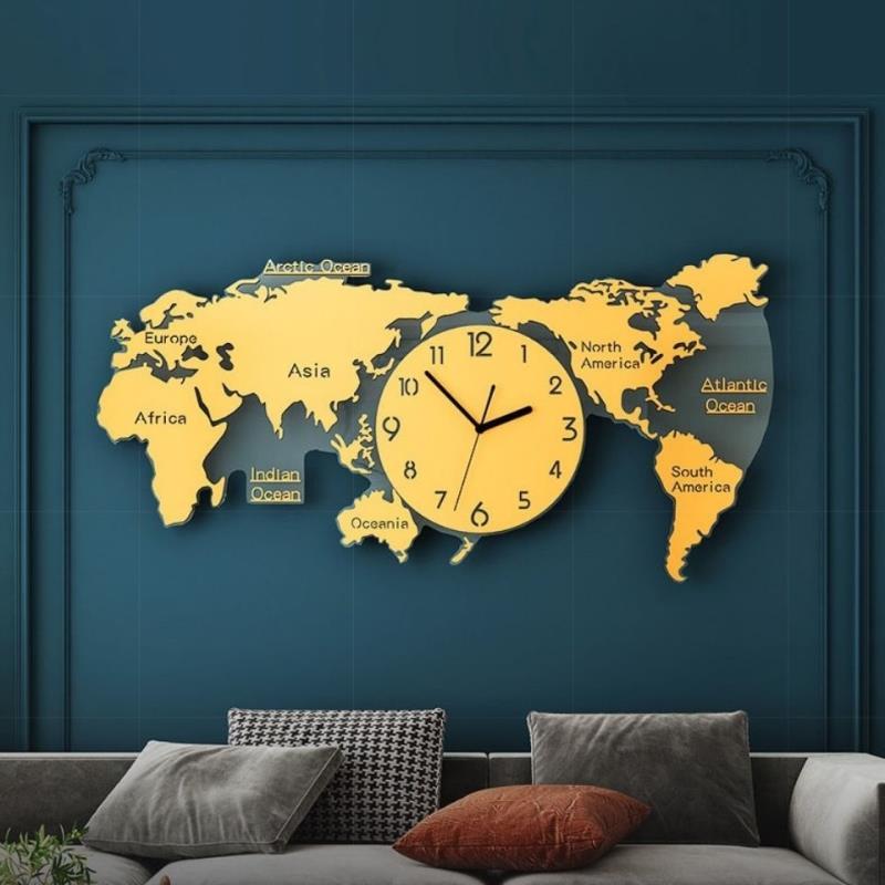 超大尺寸3米世界地圖辦公室裝飾鐘表掛鐘客廳現代簡約大氣時鐘