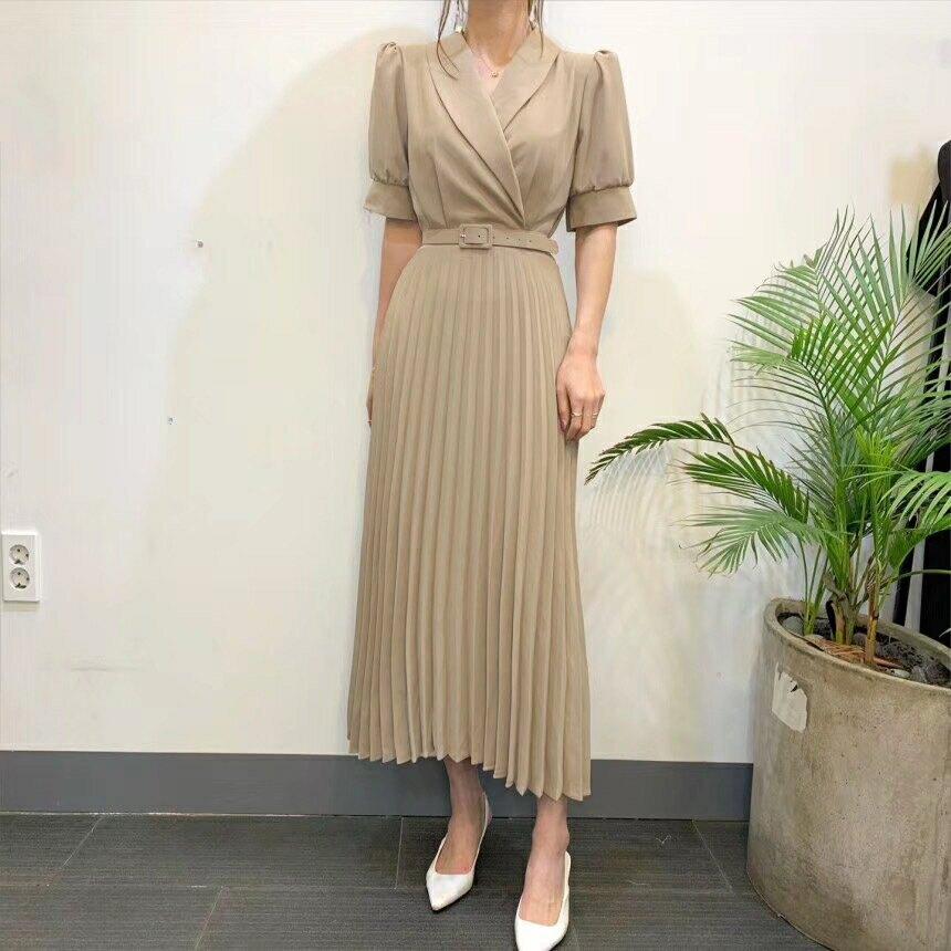 洋裝 韓系春夏復古OL氣質翻領百摺連身裙長 配腰帶 共3色 依米迦