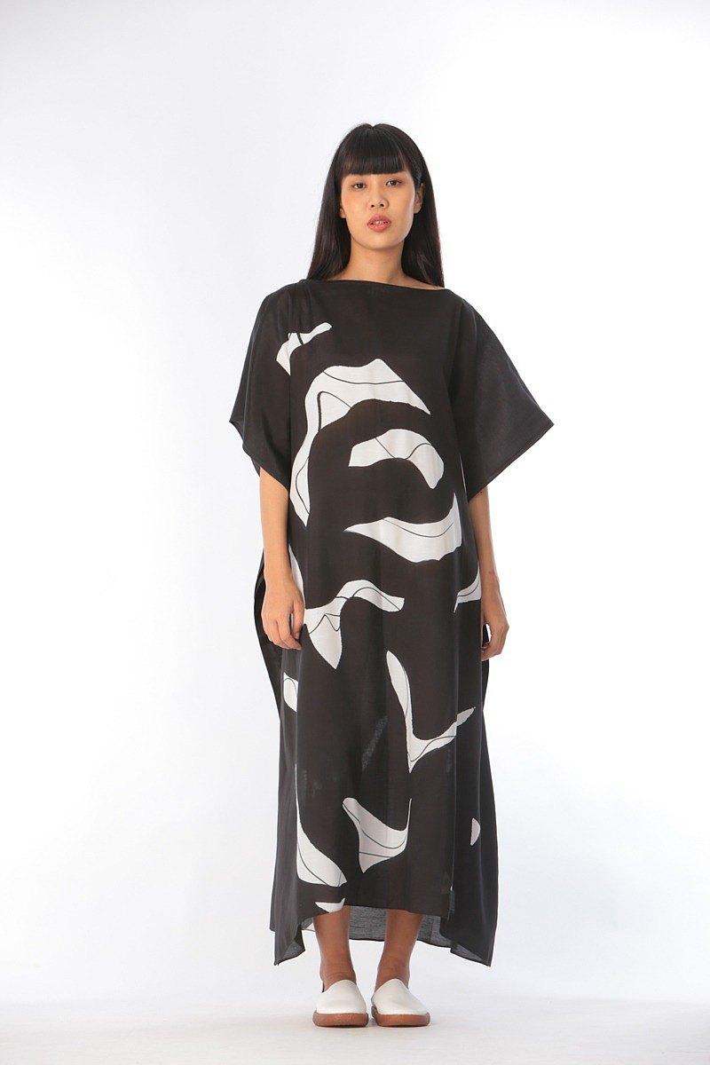 手繪棉質人造絲Kaftan,適合暑假度假-免費尺碼