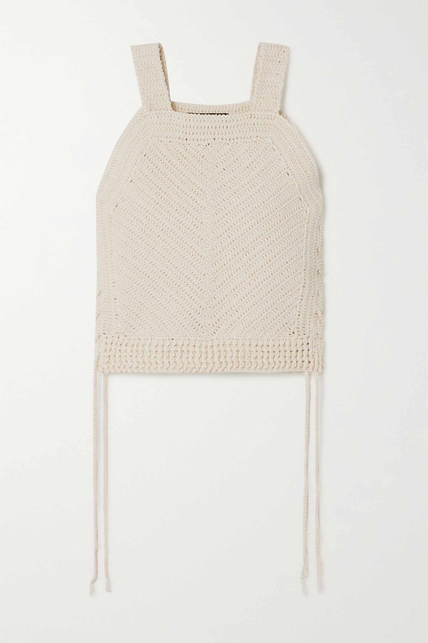 NILI LOTAN - Violet Cropped Crocheted Cotton-blend Tank - Ivory - small