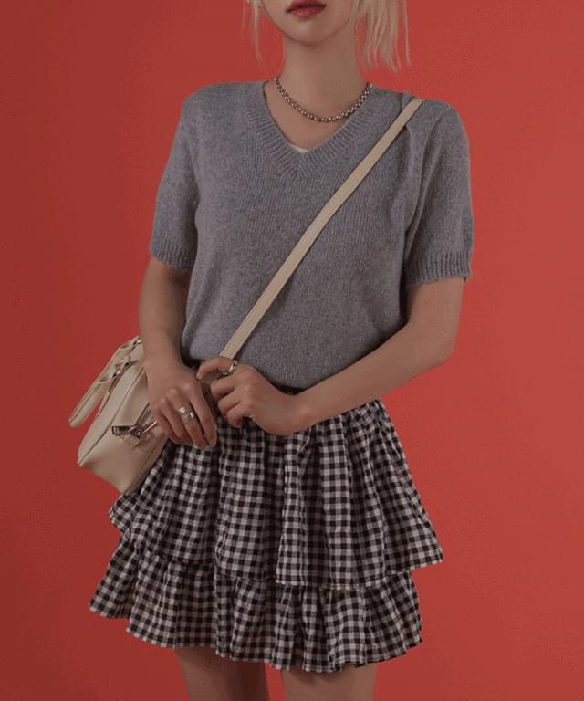 韓國空運 - Purin V-Neck Short Sleeve Knitwear 針織衫
