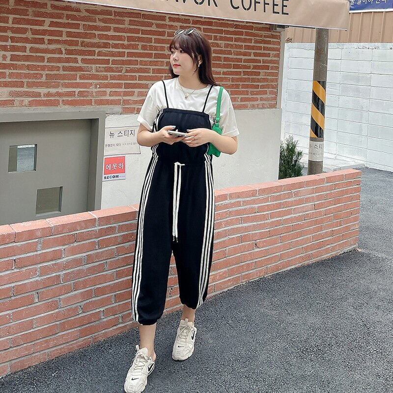 2021春夏新款韓版中大尺碼女裝200斤胖mm加肥時尚吊帶連體褲