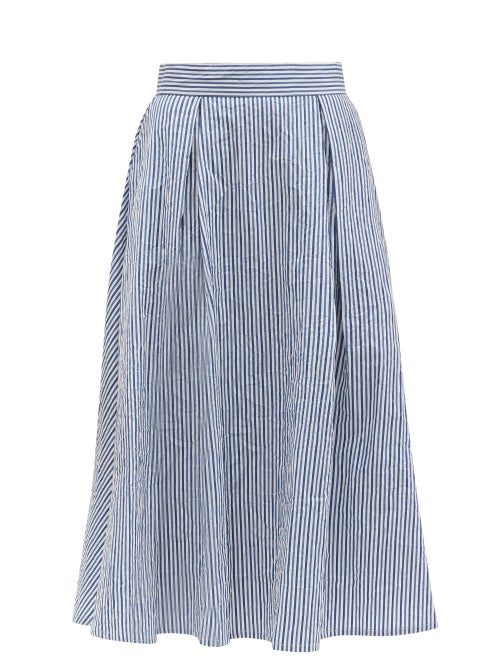 Thierry Colson - Wynona Striped Cotton Midi Skirt - Womens - Blue White