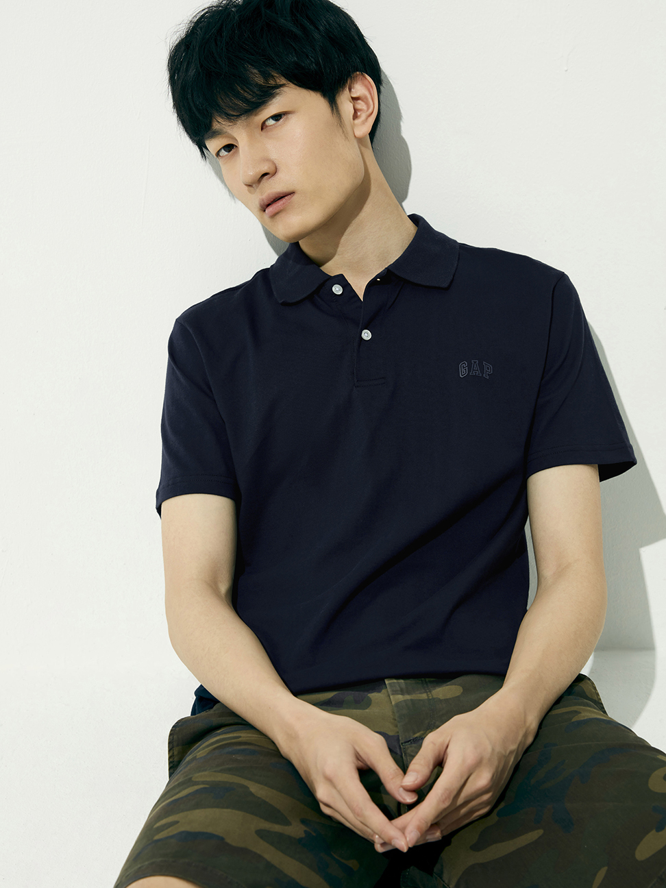 男裝 Logo純棉素色POLO衫
