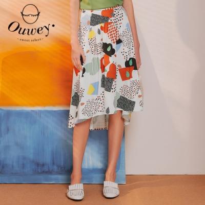 OUWEY歐薇 日系幾何印花修身長裙(白)3212082206