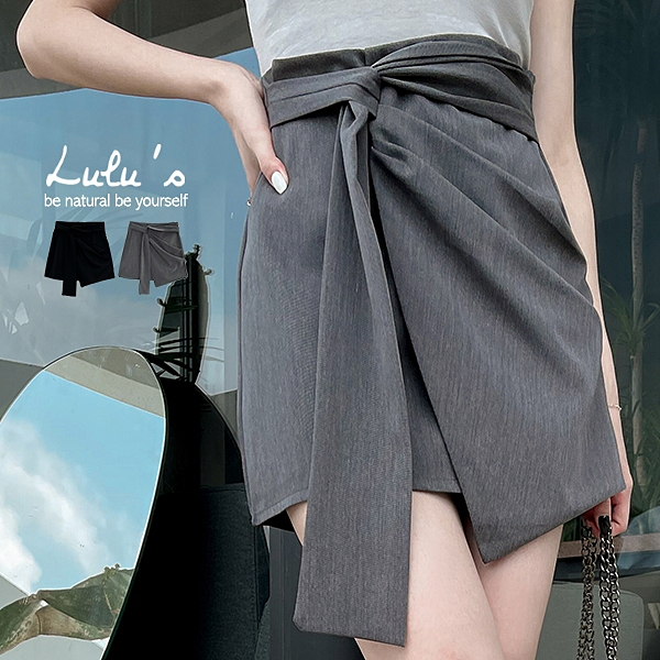 LULUS【A05210038】E造型壓褶短裙M-L2色