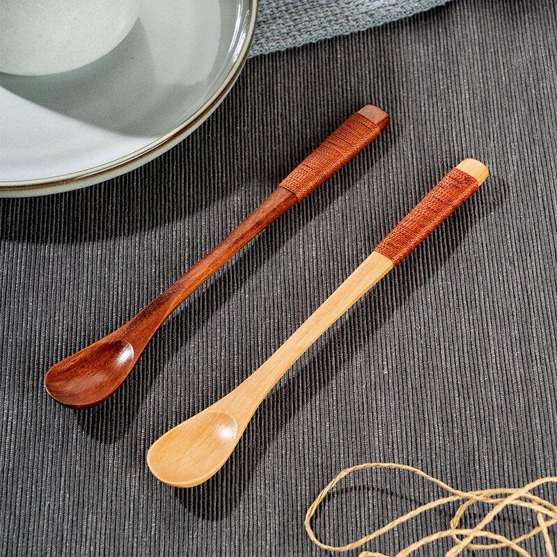 2支裝日式木質長柄勺 攪拌勺 冷飲冰勺家用咖啡勺木勺子實木長勺