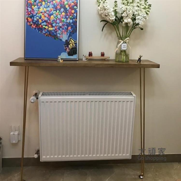玄關桌 玄關桌 美式簡約木質鐵藝長條牆邊沙發后背櫃几暖氣片 靠牆窄桌子T