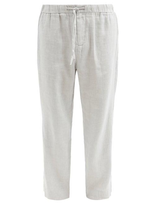 Frescobol Carioca - Oscar Linen-blend Wide-leg Chino Trousers - Mens - Grey