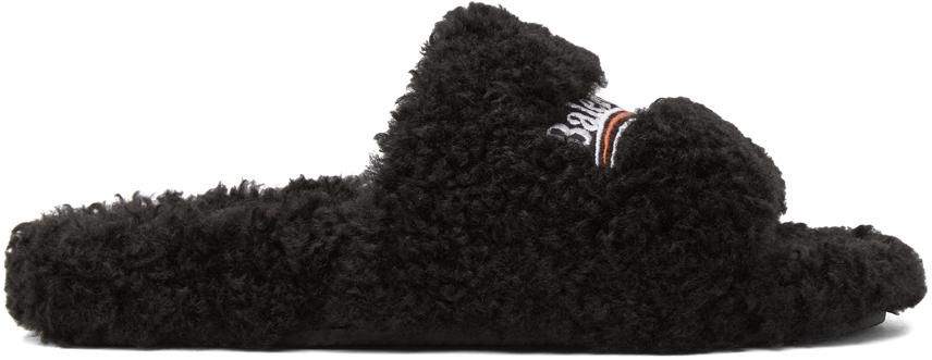 Balenciaga 黑色 Furry 拖鞋