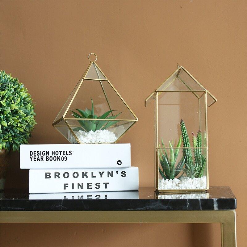 簡約現代玻璃罩花房微景觀多肉擺件客廳茶幾書房電視柜樣板間裝飾