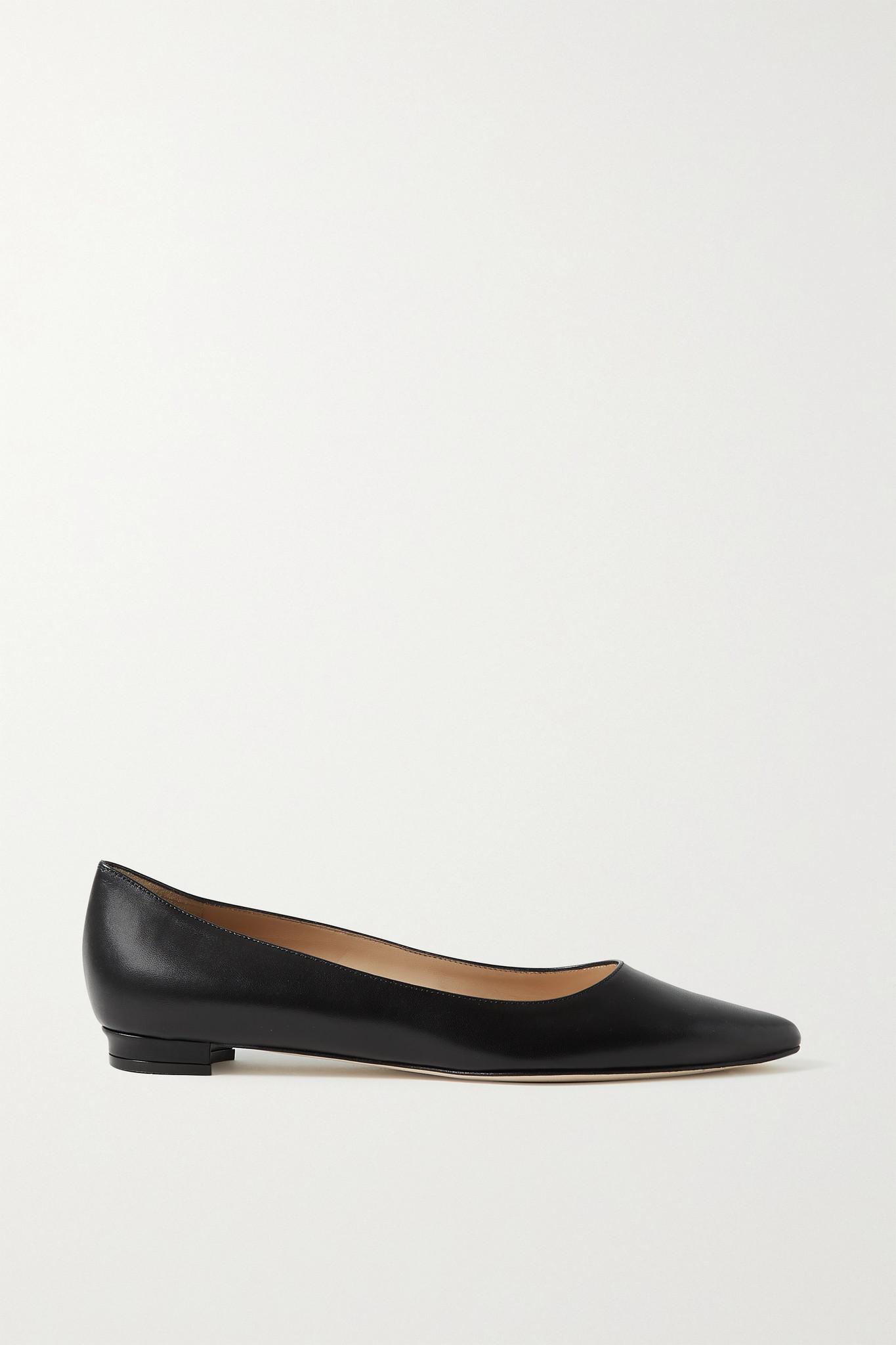 MANOLO BLAHNIK - Titto Leather Point-toe Flats - Black - IT39