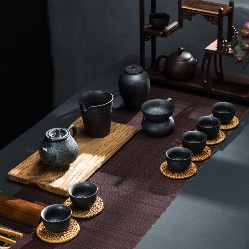 傳藝窯復古鐵銹釉功夫茶具套裝整套家用陶瓷茶壺茶杯6人禮盒裝