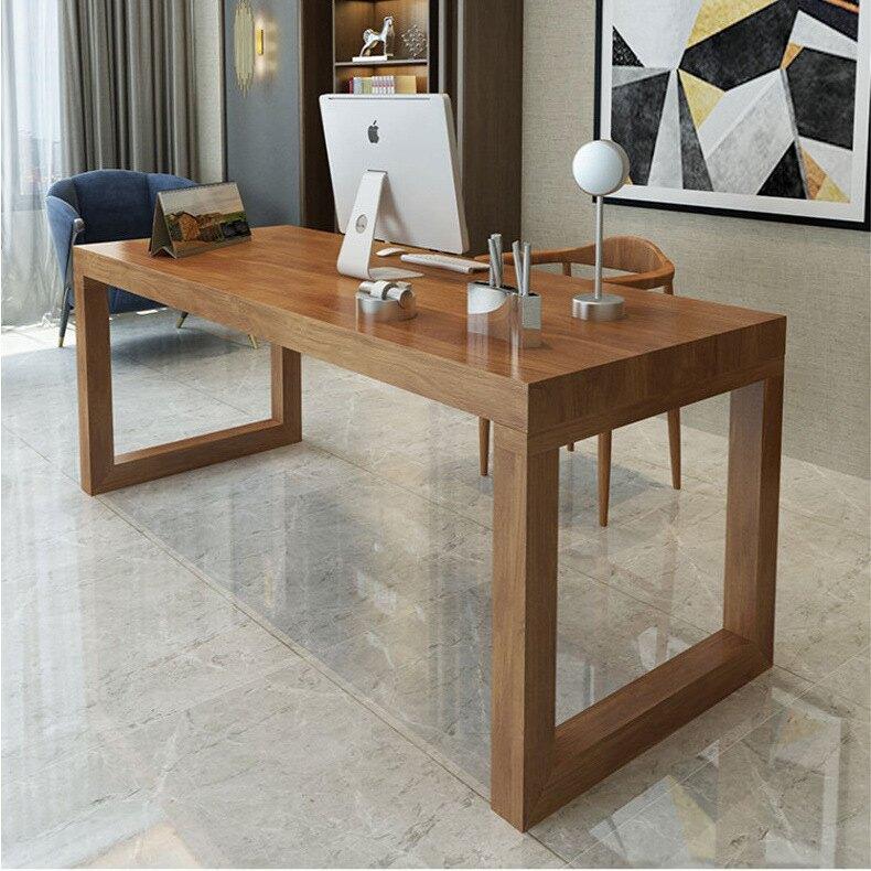 實木電腦桌書桌臺式簡約現代辦公桌簡易工作寫字桌臥室家用桌子