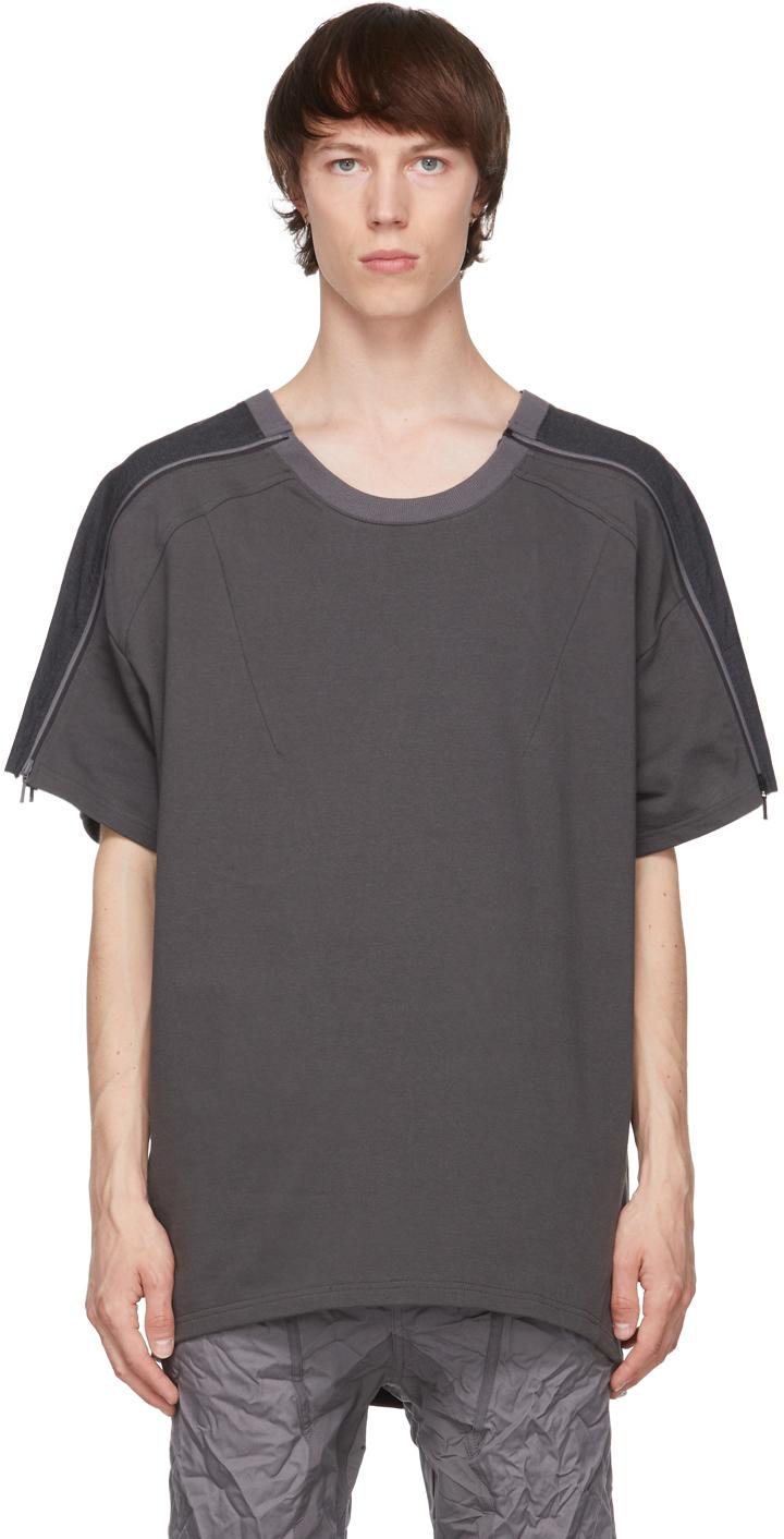 Blackmerle 灰色拉链拼接 T 恤