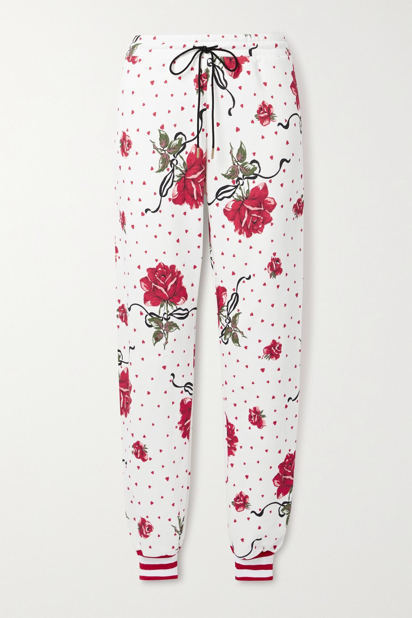 RODARTE - 花卉印花棉质混纺平纹布休闲裤 - 白色 - x small