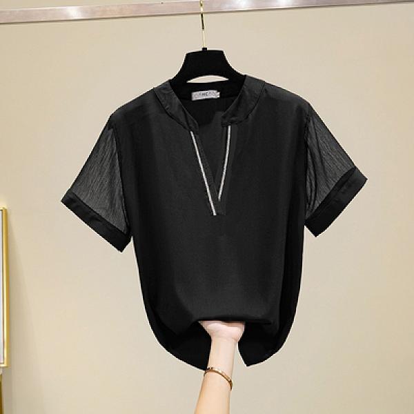 雪紡上衣大碼XL-5XL2262夏新款加肥大碼女裝胖mm200斤洋氣雪紡衫V領短袖襯衫F5026快時尚